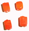Indian Glass Bead Cube 6mm x 6mm Orange Opaque